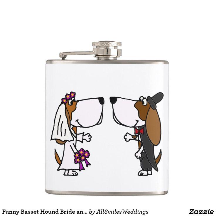 Funny Basset Hound Bride and Groom Wedding Hip Flasks
