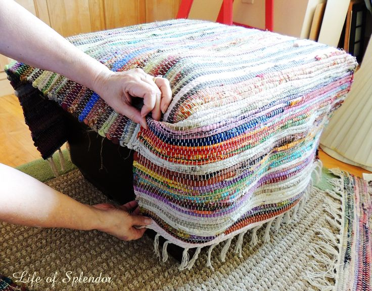 DIY slipcover made from rugs