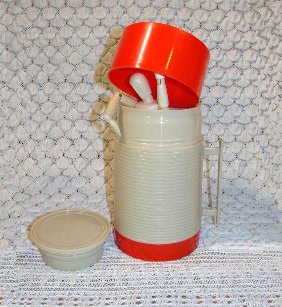 Vintage Aladdin Thermos Retro Red & Cream Vintage Thermos by SoEco