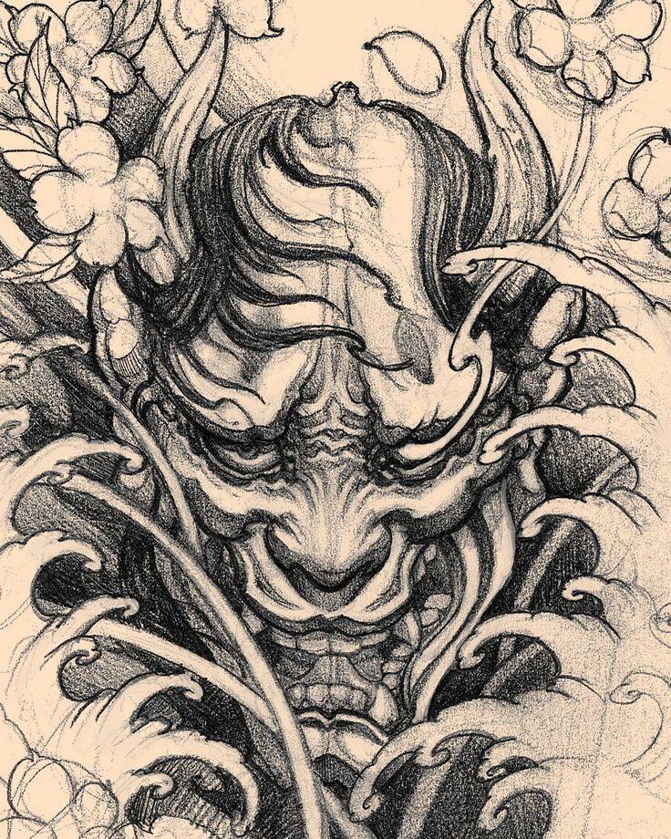 Hannya sketch in progress. #chronicink #asianink #tattoo #irezumi #irezumicollective #hannya #hannyamask #sketch #drawing #illustration