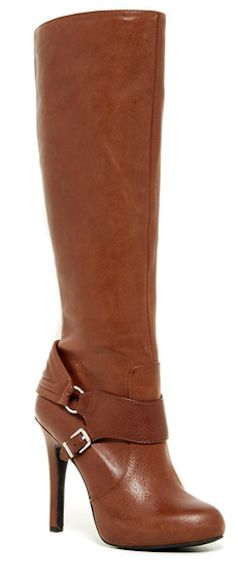 High heel leather brown boots