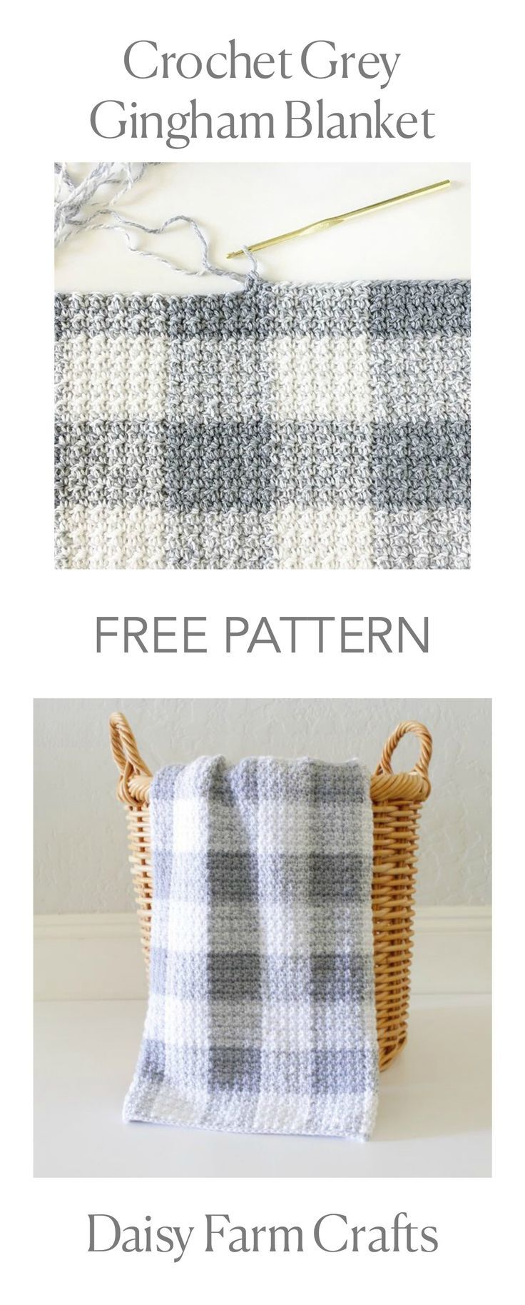 FREE PATTERN - Crochet Gray Gingham Blanket