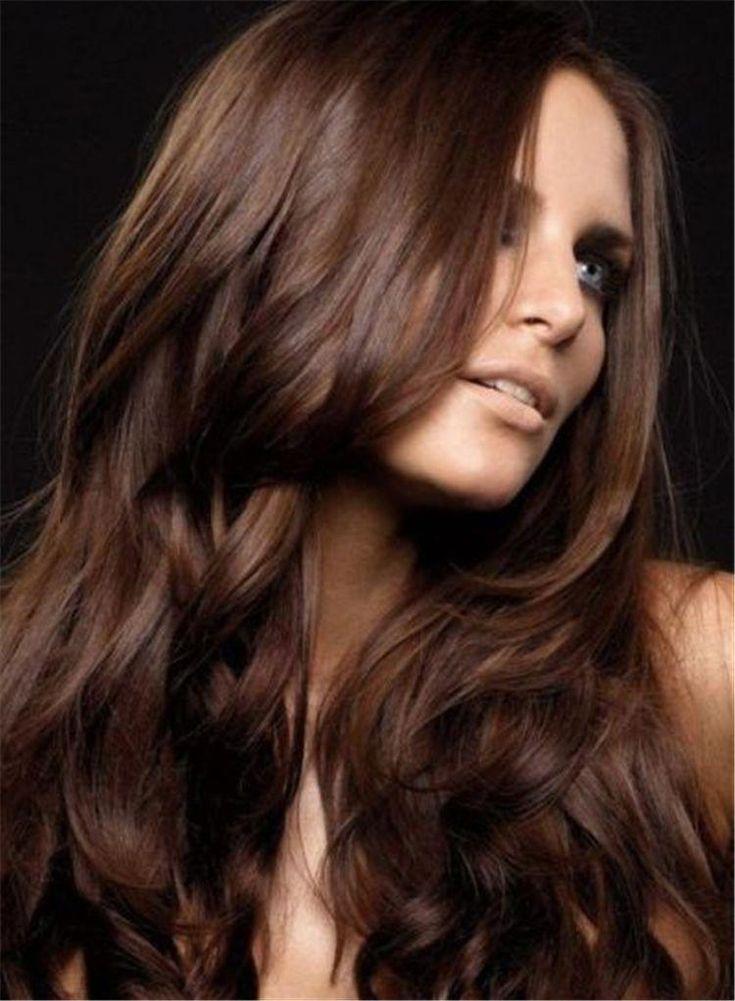 интенсивный каштановый цвет волос фото высокого