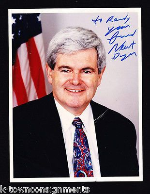 "NEWT GINGRICH CONGRESS HOUSE SPEAKER VINTAGE AUTOGRAPH SIGNED 7x9"" PHOTO"