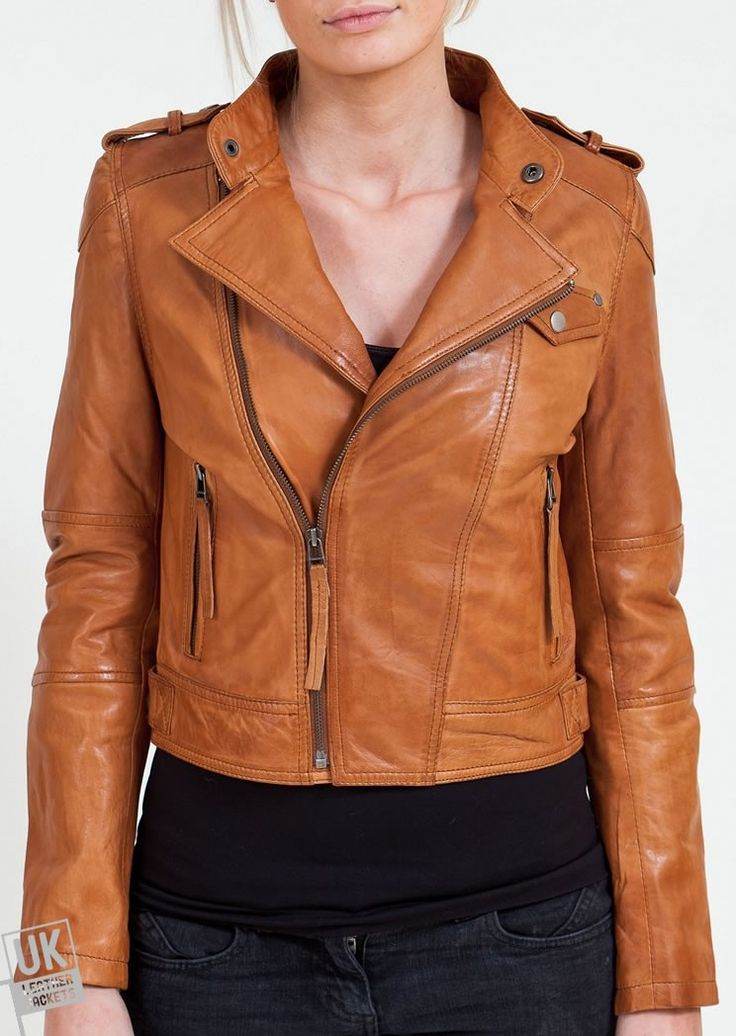 Women's Tan Leather Biker Jacket - Ghezzi - A sumptuously soft women's tan leather biker jacket in an asymmetric cross zip design that works well for both casual and chic wear. So whether you want to just throw it over a pair of jeans to pop-out to the shops or want to look your best on a night out this will be a faithful friend.   Superior Quality Nappa Leather - Delightfully Soft and Supple. Slim fit style. Antiqued YKK zips and antiqued press-studs for a vintage finish. Stand-up ...