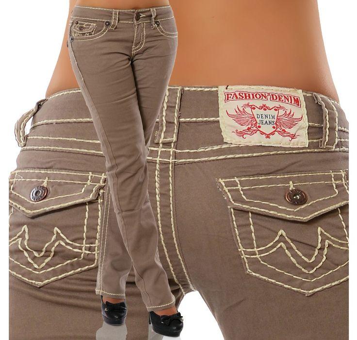 Damen-Jeans-Hose-Hueftjeans-Gerader-Schnitt-Bootcut-Huefthose-Stretch-Dicke-Naht