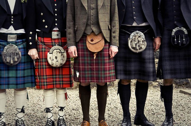 Mismatched kilts with appropriate family tartans!
