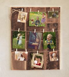 Clothespin picture frame – Reclaimed wood photo holder – Rustic picture string – 4x6 – 5x7 – Barn wood photo collage – Country décor by GrindstoneDesign on Etsy https://www.etsy.com/listing/251648125/clothespin-picture-frame-reclaimed-wood