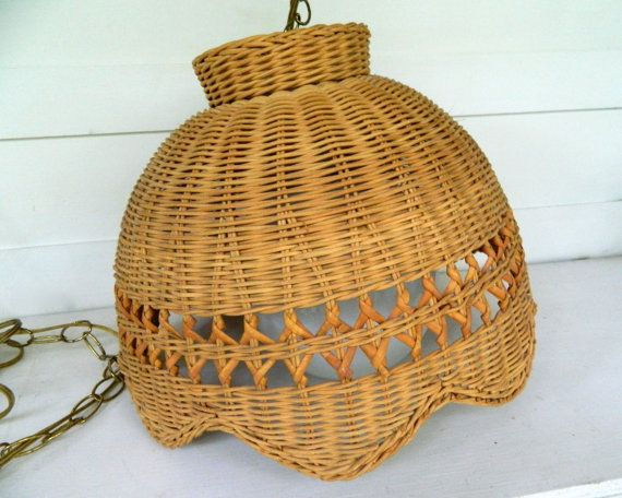 Vintage Wicker Hanging Light by alwaysmaybevintage on Etsy