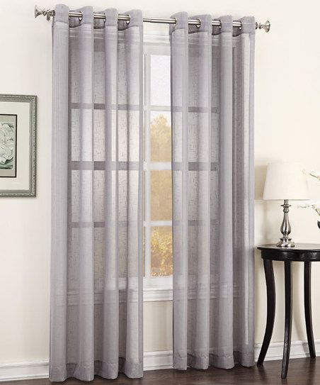 Silver Julie Texture Sheer Grommet Curtain Panel | Modern