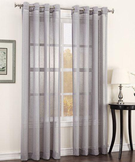 Silver julie texture sheer grommet curtain panel modern for Sheer curtains texture