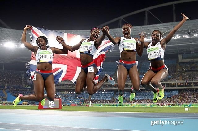 Asha Philip, Desiree Henry, Dina Asher-Smith and Daryll Nita of Great Britain celebrate winning BRONZE in the Women's 4 x 100m Relay Final on Day 14 of the Rio 2016 Olympic Games | August 19, 2016.