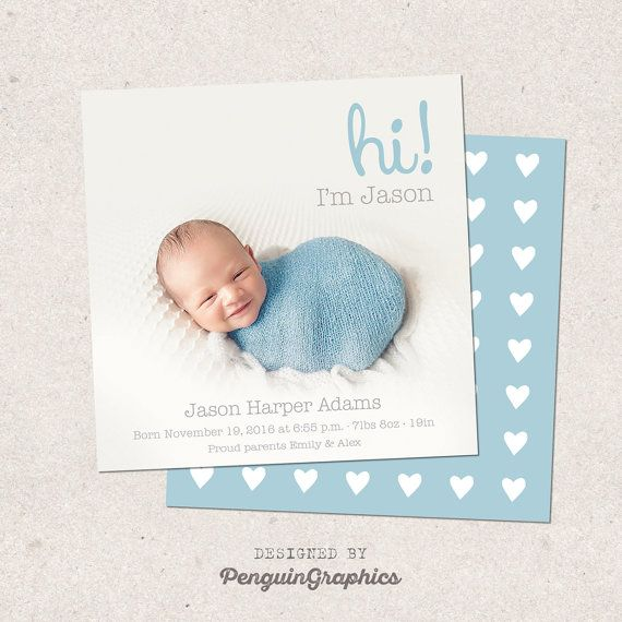 Birth announcement card. Personalized baby boy by PenguinGraphics