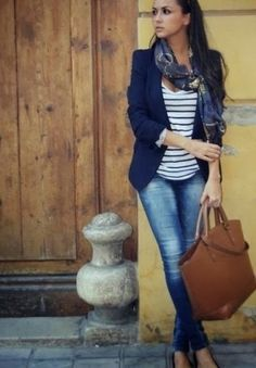 Navy blazer, white lined shirt, scarf, jeans and brown hand bag combination for fall