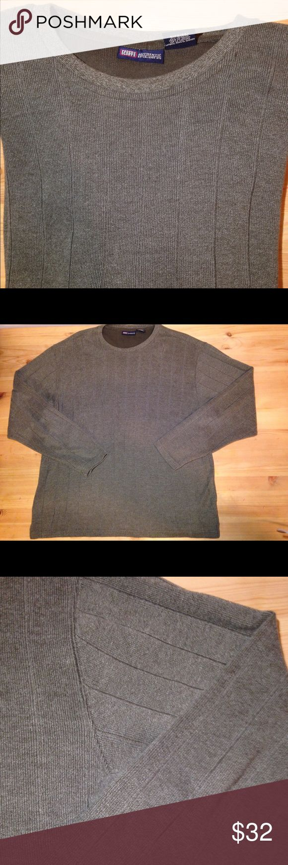 ❤😍2 HOUR SALE Large Charcoal Pullover ❤️Men's Large Charcoal Pullover with sewed stripe design•weaving is similar to Patagonia better sweater but it's more of a lighter sweatshirt rather than thick fleece jacket• 67% cotton 33% polyester •long sleeve • comfortable • any occasion • NWOT Faded Glory Sweaters