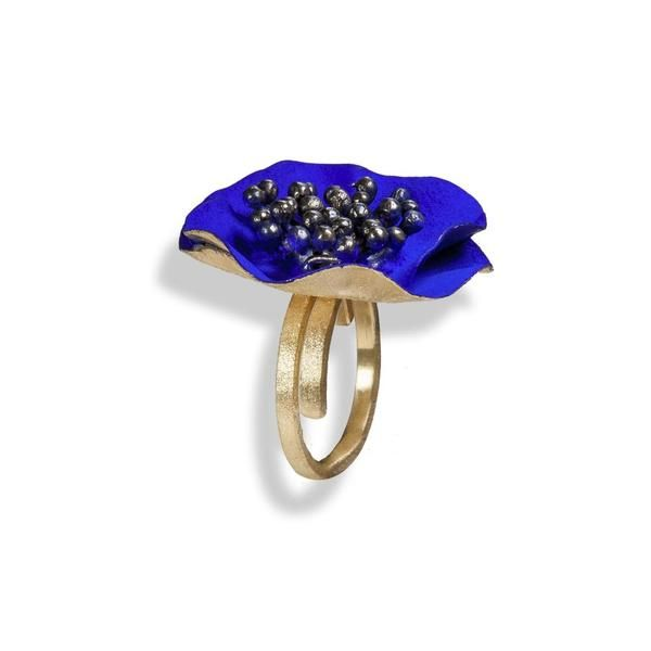 Handmade Gold Plated Silver Blue Flower Ring - Anthos Crafts - 1