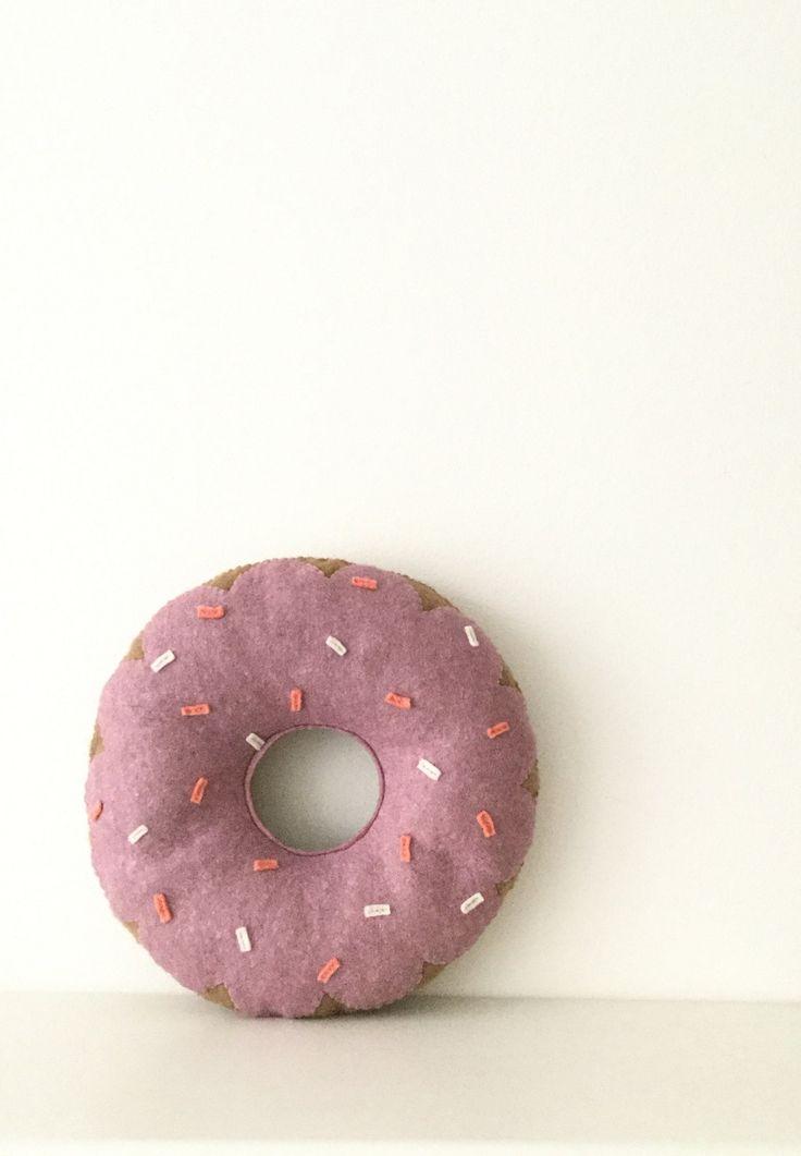 Purple donut cushion, decorative doughnut pillow, nursery decor, kidsroom interior by TadiDesigns on Etsy