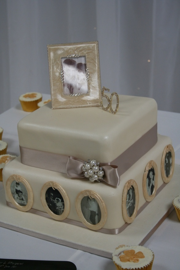 Wedding Anniversary cake - similar idea with photos on side and numbers on top (more modern color palate though)