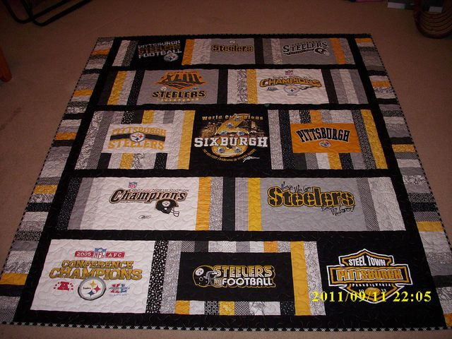 Steelers T-Shirt Quilt That is a beautiful T-shirt quilt want to make the man a Dolphins one!
