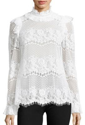 BCBGMAXAZRIA Kenzie Lace Ruffle Neck Top. Feminine white lace top