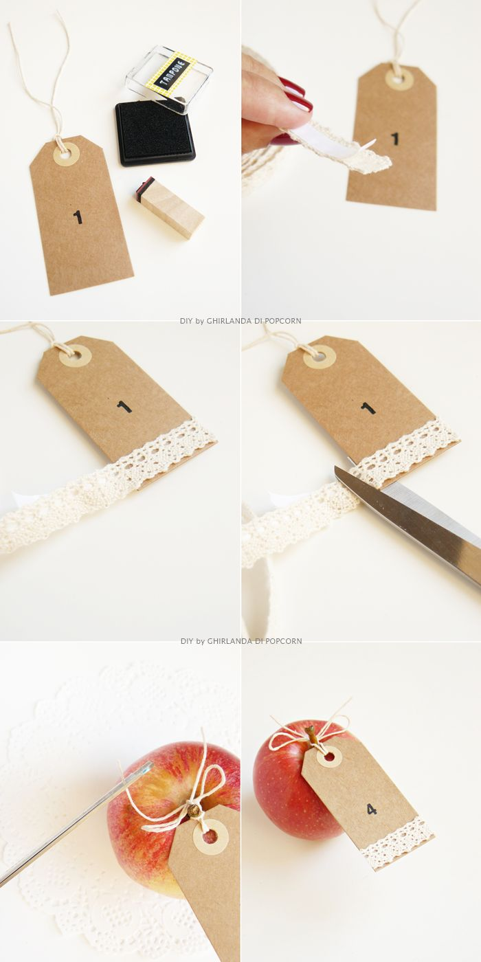 DIY apple table number Ghirlanda di Popcorn   Tutorial Sposa: scopri i segnaposto d autunno..