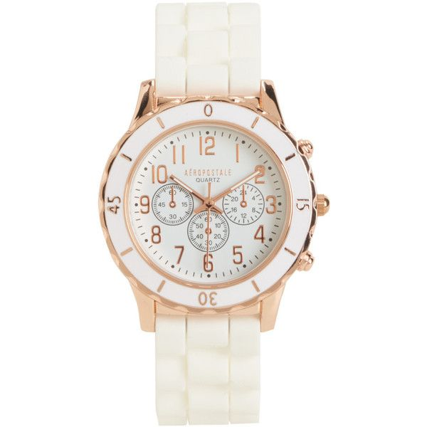 Aeropostale Solid Rubber Watch ($17) ❤ liked on Polyvore featuring jewelry, watches, white wash, white rubber watches, rubber wrist watch, white jewelry, white watches and aéropostale