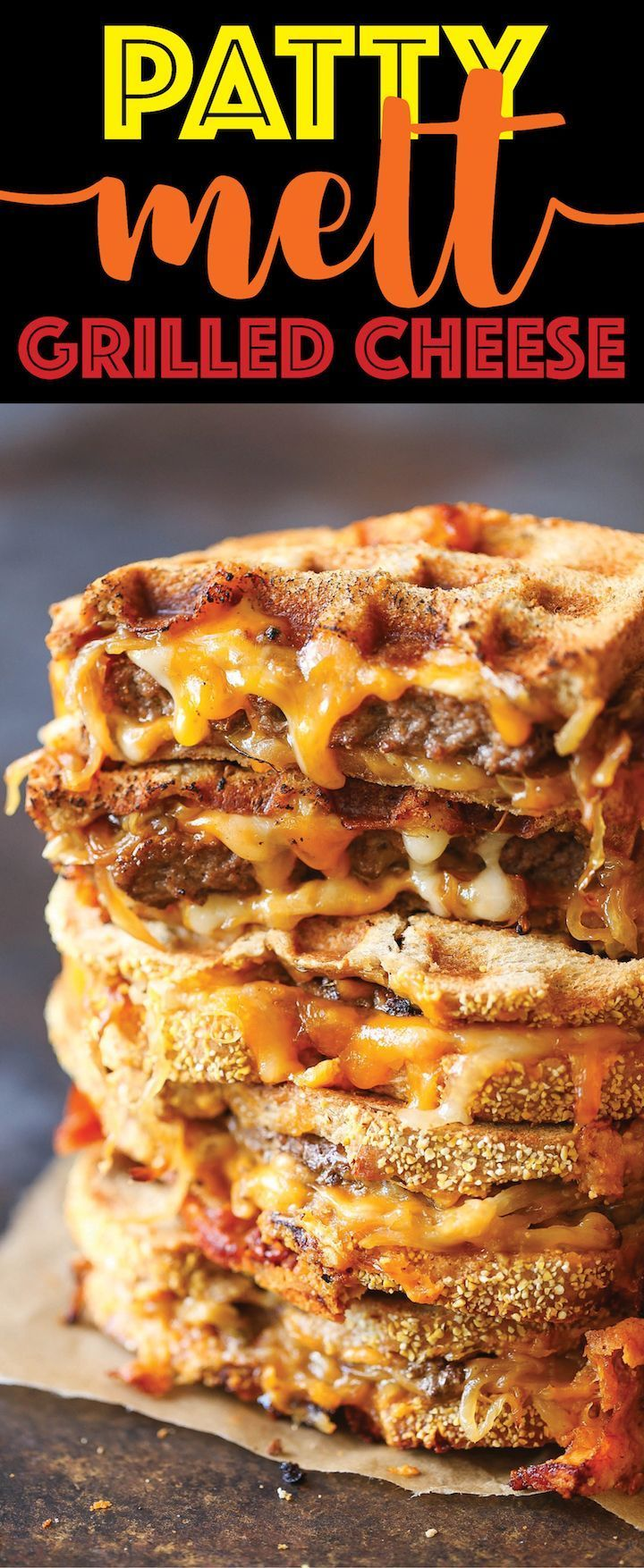Patty Melt Grilled Cheese - A classic American diner sandwich, with melted cheesy goodness, a juicy patty and caramelized onions - made in a waffle maker!!!