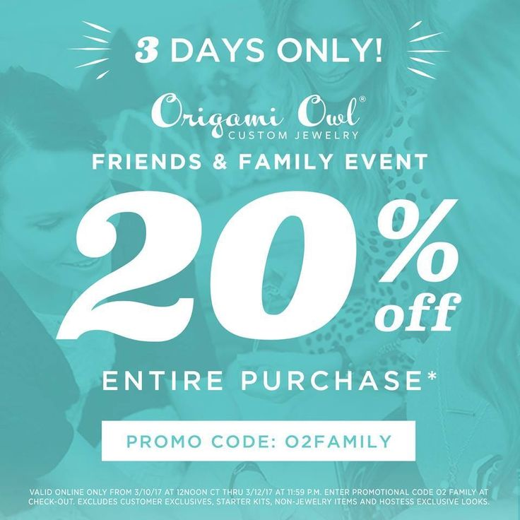 FOR THE FIRST TIME EVER you can use the promo code: O2FAMILY at check out and get 20% off your entire purchase for the next three days!!! How about that on a Friday?! Happy shopping: sharonsizemore.origamiowl.com {Excludes customer exclusives, starter kits, non-jewelry items and hostess exclusive looks.}