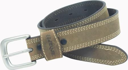 Triple-row contrast stitching around strap. Snap fasteners facilitate buckle changes. Antique nickel-finish buckle, Carhartt logo heat stamped on leather keeper. More Details