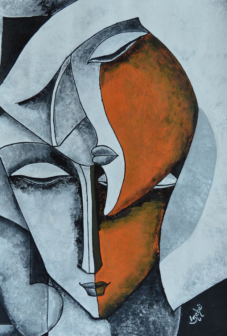 couple as classic modern art  with acrylic color