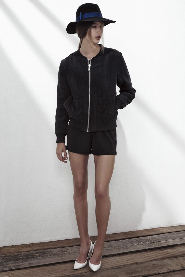 100% CUPRO JACKET IN ANTHRACITE BLACK, ENDLESS SUMMER CREPE SHORTS IN ANTHRACITE BLACK. www.fallwinterspringsummer.com