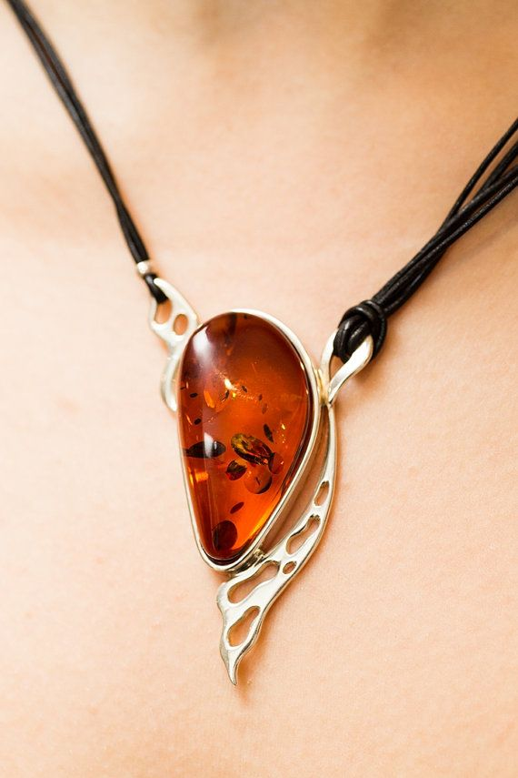 Baltic Amber Necklace, Cognac amber, sterling 925 silver, leather necklace…