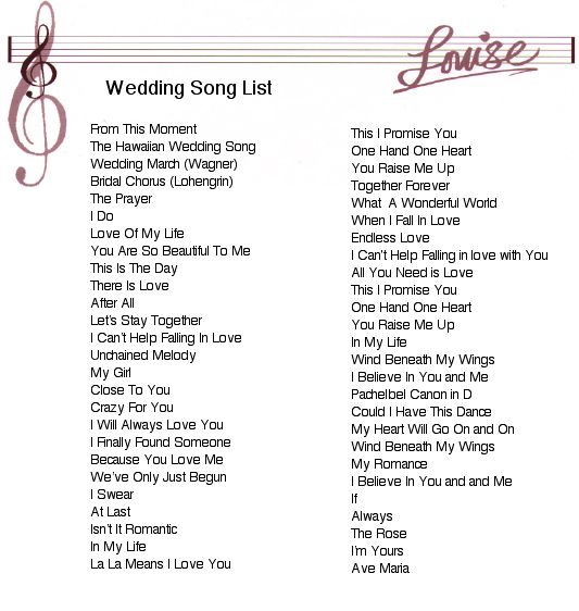 List Of Wedding Songs