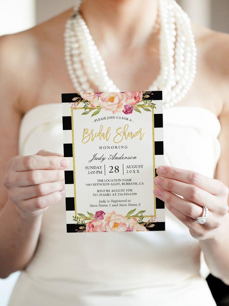24 Black and White Bridal Shower Invitations