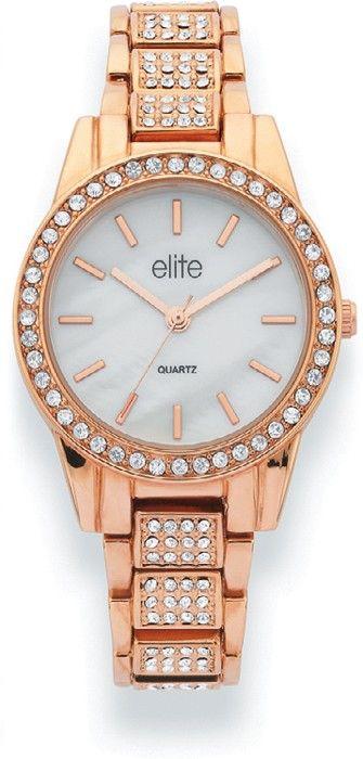 Elite+Ladies+Rose+Tone+Mother+of+Pearl+Dial+Watch