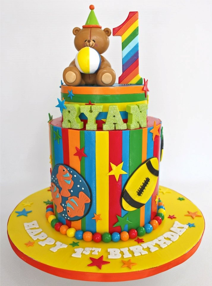 Bright first birthday teddy bear #cake