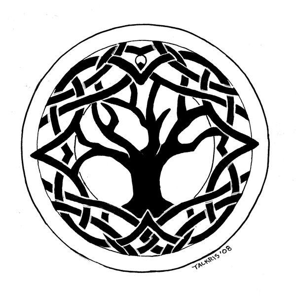 Round Celtic Tree Tattoo