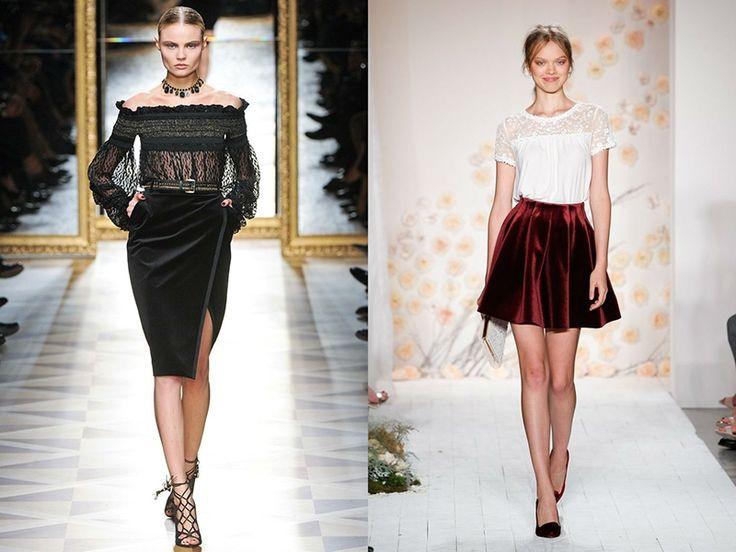 Бархатная юбка – модная уловка для роскошных дам