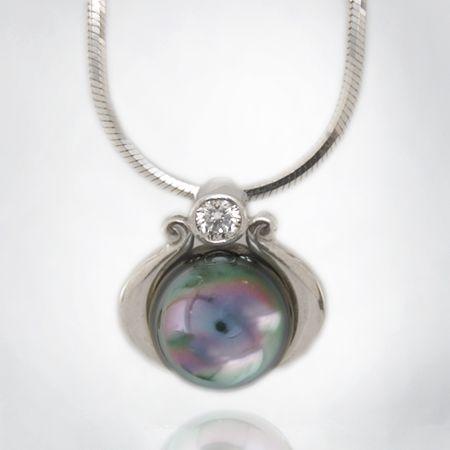 Bezel Set Brilliant Diamond Pearl Pendant in White Gold with Snake Chain
