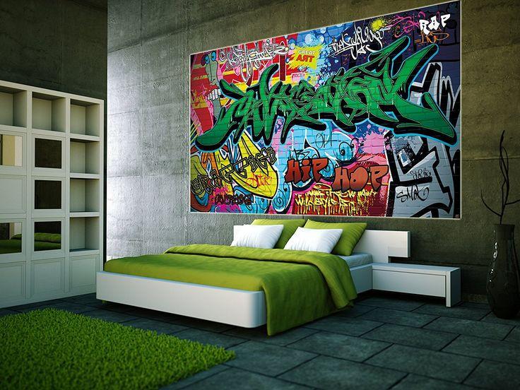 Graffiti Fototapete Mit Bunten Zeichen Schriftzügen Pop Art Mauer Street  Style Writing Hip Hop Wallpaper Street Art Wall  Wandposter Fotoposter Bild  ...