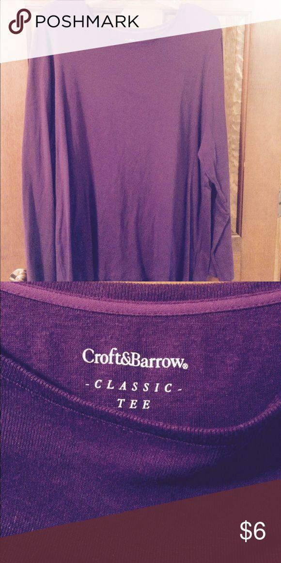 Long sleeve purple tee size 2X Purple long sleeves purple tee. 100% cotton croft & barrow Tops Tees - Long Sleeve