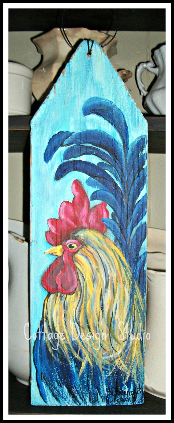 whimsical rooster sign rooster painting by CottageDesignStudio