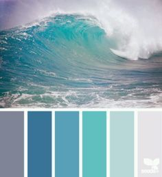Ocean color combo; waves; water; aqua turquoise; nautical