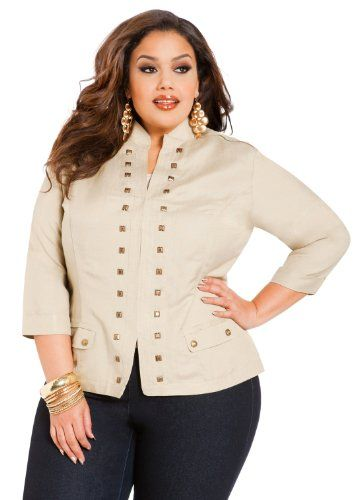 Ashley Stewart Women's Plus Size Stued Front Blazer   12 Rattan Beige Ashley Stewart, PRETTY PLUS SIZE if you wish to buy just CLICK on AMAZON right HERE http://www.amazon.com/dp/B00H8597IQ/ref=cm_sw_r_pi_dp_xUV5sb1KG0KZM5TQ