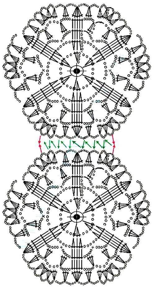 Схема мотива крючком для платья