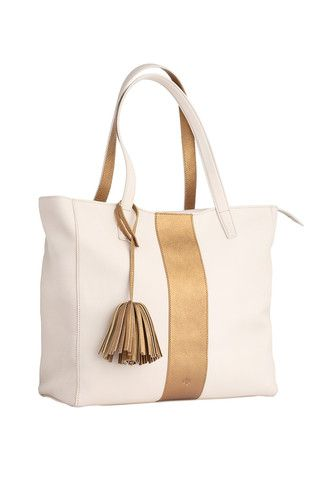 Scandi Tote - Sport - ivory  Available in two neutral shades and embellished with a metallic bronze  stripe and trim details. This tote takes a simple silhouette and makes everyday sophistication effortless.