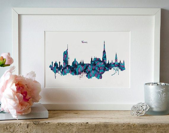 Vienna Watercolor Skyline Silhouette City poster by Artsyndrome