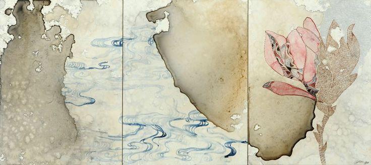 Belinda Fox, Title: Sea study II, 2011. Size: 31 x 69 cm (3 panels). Medium: watercolour, drawing on board
