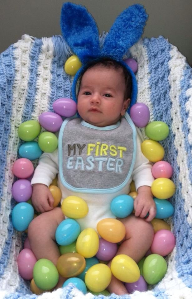 Easter baby photoshoot. Baby egg basket. DIY Easter pictures. First Easter