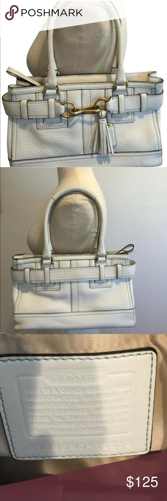 "Authentic Coach Purse Beautiful white leather satchel. EUC. The measurements are 13""L x 7""H x 5""W. if you have any questions please feel free to ask. :) Coach Bags Satchels"